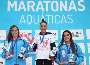 Poliana Okimoto. Circuito Nacional de Maratonas Aquaticas na praia de Munbuda no Forte dos Andradas. 05 de Junho de 2016, Guaruja, SP, Brasil. Foto: Satiro Sodré/SSPress